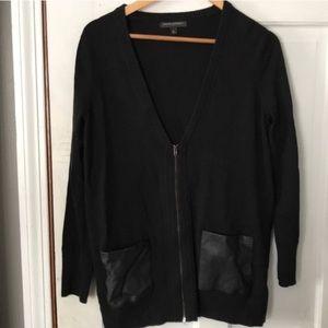 Banana Republic Black Zip Leather Trim Cardigan M